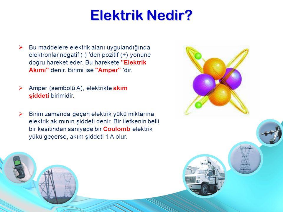  Bu maddelere elektrik alanı uygulandığında elektronlar negatif (-) 'den pozitif (+) yönüne doğru hareket eder. Bu harekete