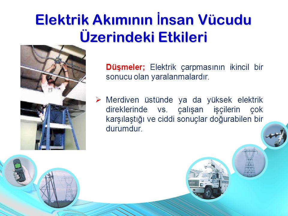 Düşmeler; Elektrik çarpmasının ikincil bir sonucu olan yaralanmalardır.  Merdiven üstünde ya da yüksek elektrik direklerinde vs. çalışan işçilerin ço