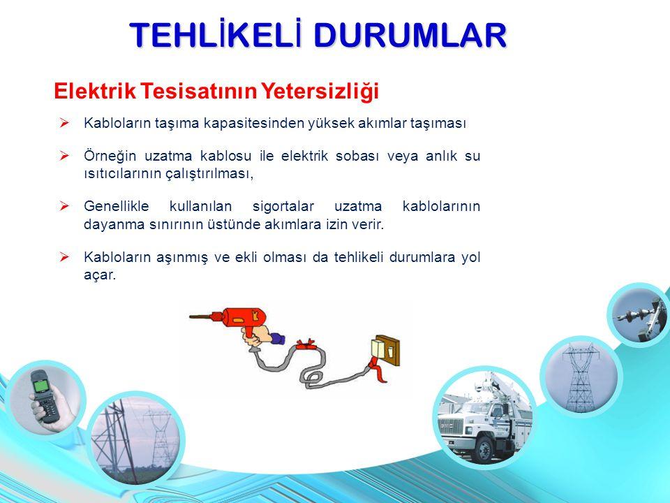 TEHL İ KEL İ DURUMLAR Elektrik Tesisatının Yetersizliği  Kabloların taşıma kapasitesinden yüksek akımlar taşıması  Örneğin uzatma kablosu ile elektr