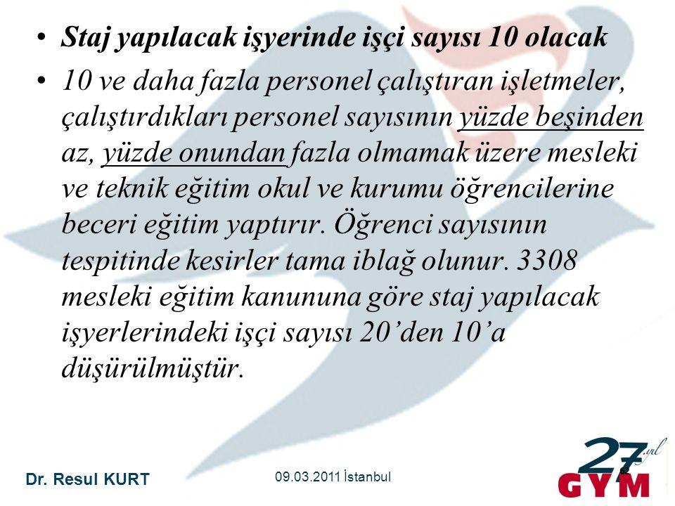 Dr. Resul KURT 09.03.2011 İstanbul 62 •Staj yapılacak işyerinde işçi sayısı 10 olacak •10 ve daha fazla personel çalıştıran işletmeler, çalıştırdıklar