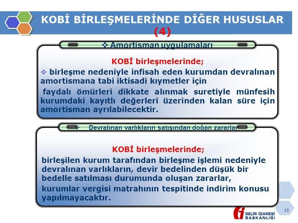 15 KOBİ BİRLEŞMELERİNDE DİĞER HUSUSLAR (4)  Amortisman uygulamaları KOBİ birleşmelerinde;  birleşme nedeniyle infisah eden kurumdan devralınan amort