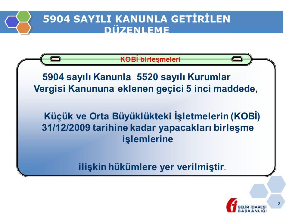 2 5904 SAYILI KANUNLA GETİRİLEN DÜZENLEME KOBİ birleşmeleri 5904 sayılı Kanunla 5520 sayılı Kurumlar Vergisi Kanununa eklenen geçici 5 inci maddede, K