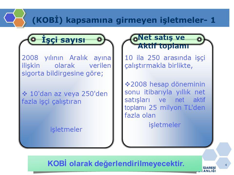 5 (KOBİ) kapsamına girmeyen işletmeler- 2  Aynı şekilde, 1/1/2009 tarihinden sonra kurulan işletmeler de Yeni işletmeler KOBİ olarak değerlendirilmeyecektir.