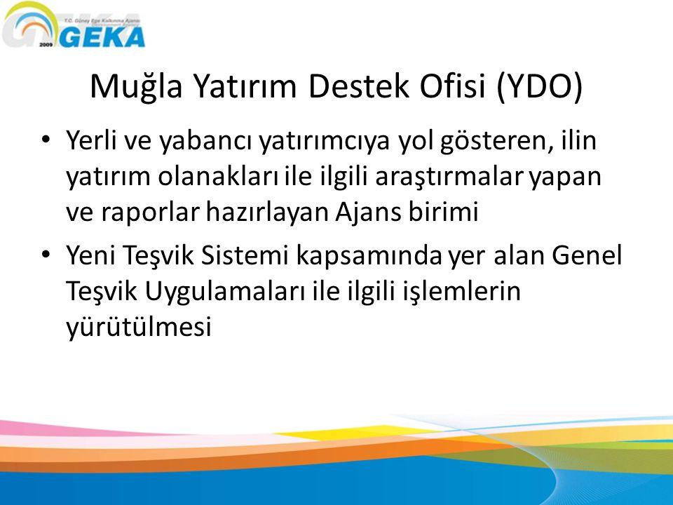 Muğla Yatırım Destek Ofisi (YDO) • Yerli ve yabancı yatırımcıya yol gösteren, ilin yatırım olanakları ile ilgili araştırmalar yapan ve raporlar hazırl