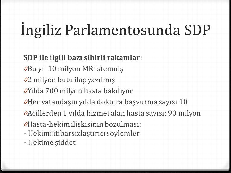 İngiliz Parlamentosunda SDP SDP ile ilgili bazı sihirli rakamlar: 0 Bu yıl 10 milyon MR istenmiş 0 2 milyon kutu ilaç yazılmış 0 Yılda 700 milyon hast
