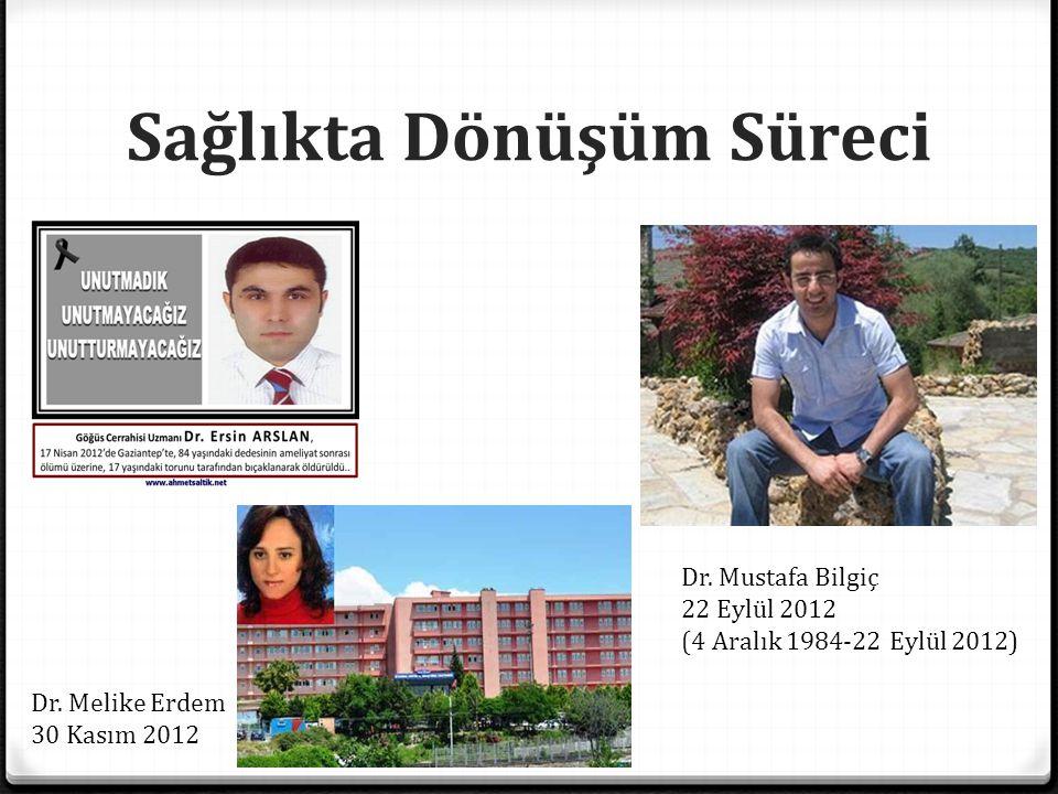 Sağlıkta Dönüşüm Süreci Dr. Melike Erdem 30 Kasım 2012 Dr. Mustafa Bilgiç 22 Eylül 2012 (4 Aralık 1984-22 Eylül 2012)