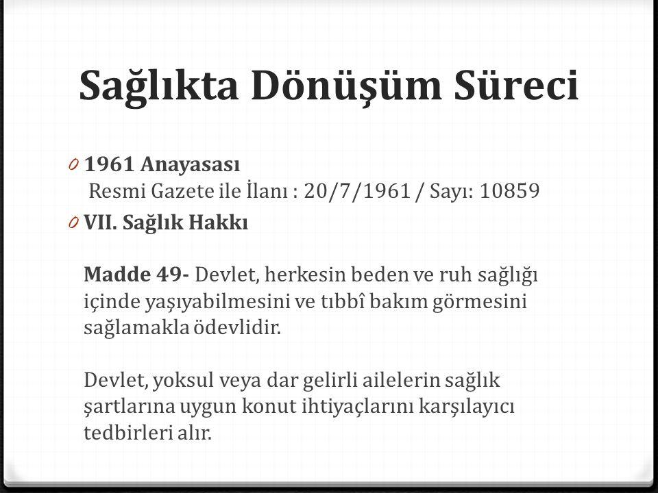 Sağlıkta Dönüşüm Süreci Türkiye'de sağlık reformu, 2004 0 Performansa dayalı ödeme sistemi Türkiye geneline yaygınlaştı.