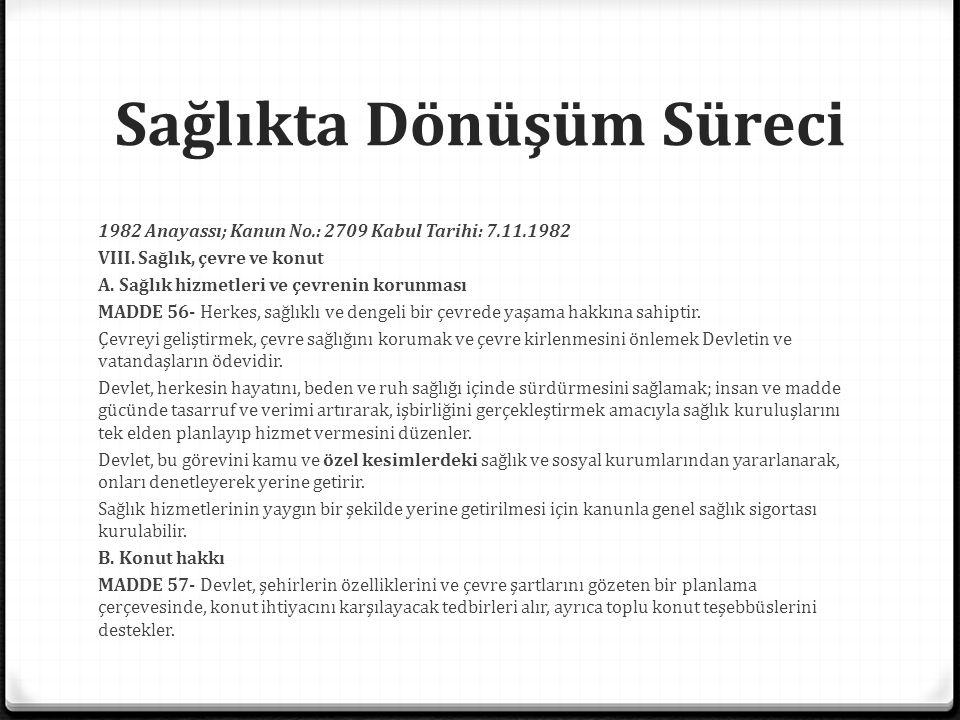 Sağlıkta Dönüşüm Süreci Türkiye'de sağlık reformu, 2005 0 Aile hekimliği pilot uygulaması: 15.09.2005 (Düzce) 0 SSK ve diğer bazı kamu kurumlarının sağlık kuruluşları Sağlık Bakanlığına devredildi.