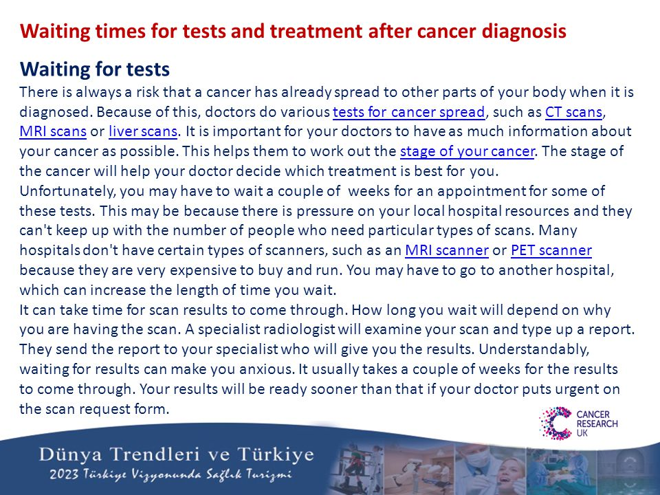 Waiting times for tests and treatment after cancer diagnosis Waiting for tests There is always a risk that a cancer has already spread to other parts