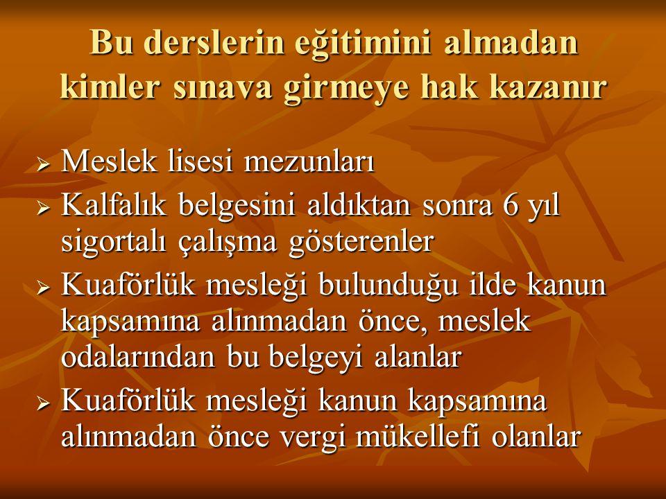 USTALIK SINAVLARI YAPILIRKEN YAŞANILAN GÜÇLÜKLER  Ustalık eğitimini alan ve almayan kişilere ortak sınav yapılması  Kuaförlük mesleğini icra eden kişilerin %80'ninin ilk okul mezunu olması  Uygulama sınavlarında okulların atölyelerinin yetersiz olması  Türkiye genelinde kuaför öğretmeni sayısının çok az olması  Formasyon,ölçme değerlendirme derslerini almayan usta öğreticilerin sınav sorusu hazırlaması …