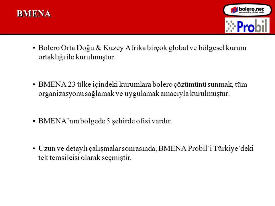 BMENA •Bolero Orta Doğu & Kuzey Afrika birçok global ve bölgesel kurum ortaklığı ile kurulmuştur.