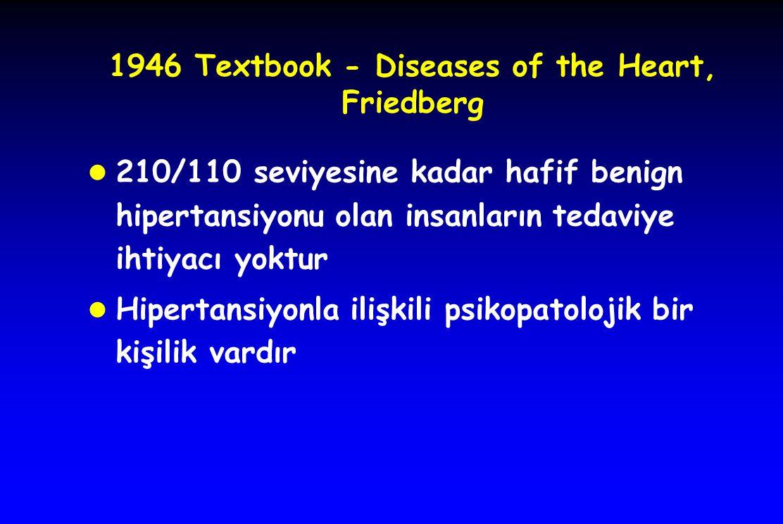 1946 Textbook - Diseases of the Heart, Friedberg l 210/110 seviyesine kadar hafif benign hipertansiyonu olan insanların tedaviye ihtiyacı yoktur l Hip