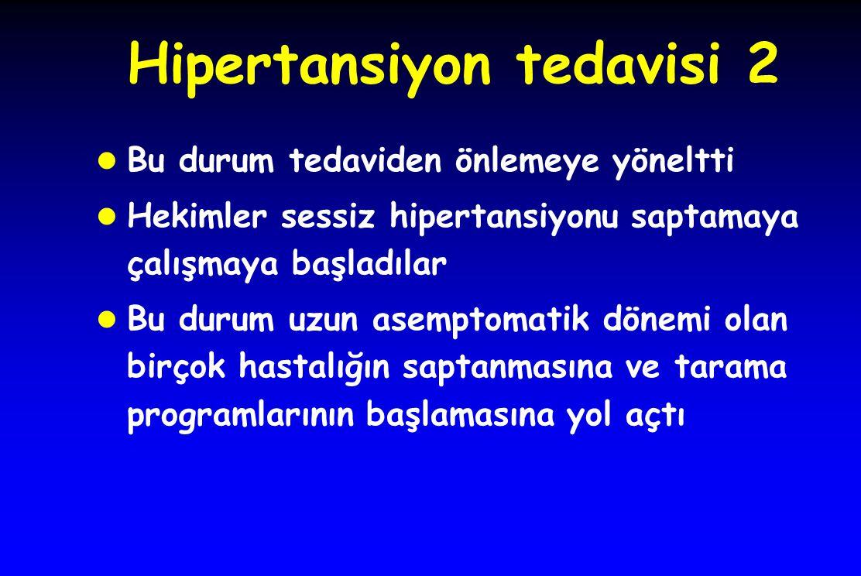 Hipertansiyon tedavisi 2 l Bu durum tedaviden önlemeye yöneltti l Hekimler sessiz hipertansiyonu saptamaya çalışmaya başladılar l Bu durum uzun asempt