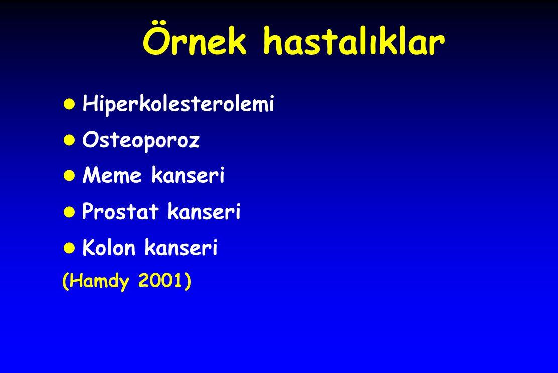 Örnek hastalıklar l Hiperkolesterolemi l Osteoporoz l Meme kanseri l Prostat kanseri l Kolon kanseri (Hamdy 2001)