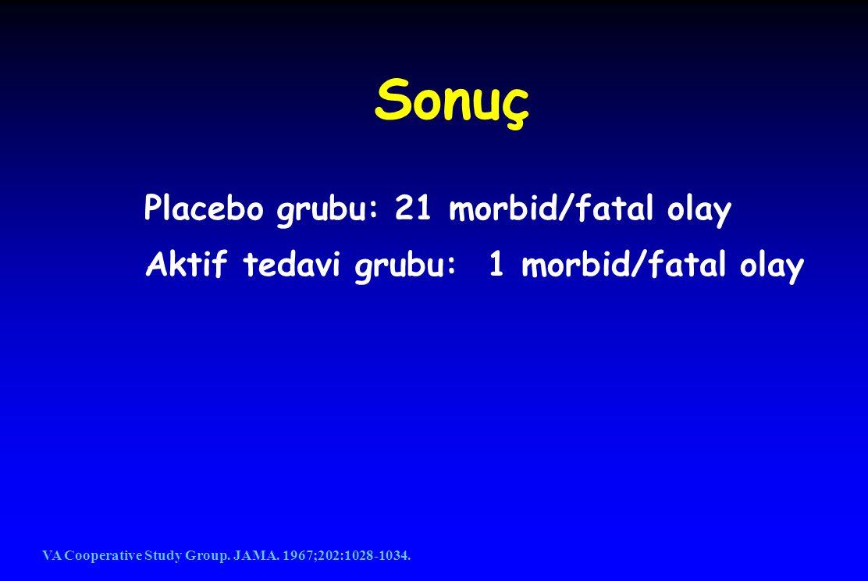 Sonuç Placebo grubu: 21 morbid/fatal olay Aktif tedavi grubu: 1 morbid/fatal olay VA Cooperative Study Group. JAMA. 1967;202:1028-1034.