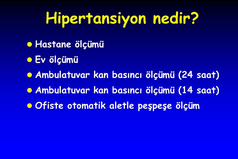Hipertansiyon nedir? l Hastane ölçümü l Ev ölçümü l Ambulatuvar kan basıncı ölçümü (24 saat) l Ambulatuvar kan basıncı ölçümü (14 saat) l Ofiste otoma