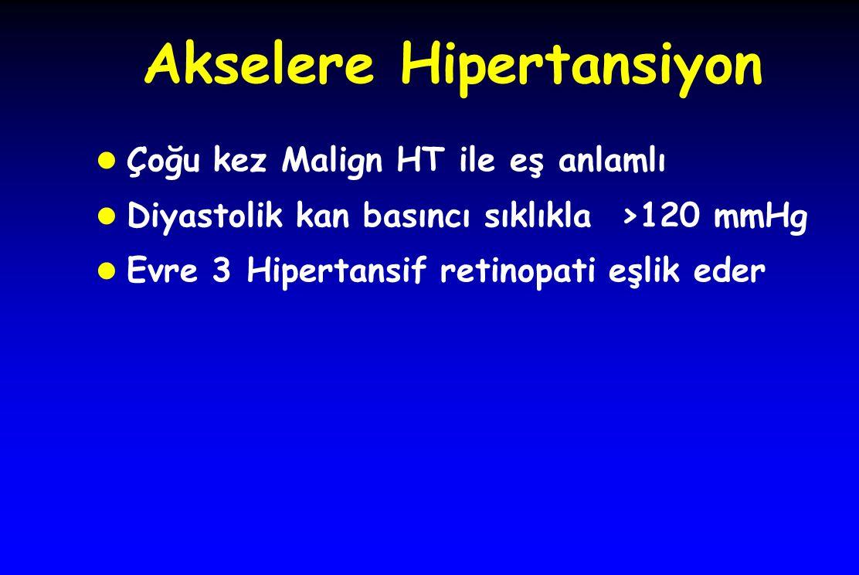 Akselere Hipertansiyon l Çoğu kez Malign HT ile eş anlamlı l Diyastolik kan basıncı sıklıkla >120 mmHg l Evre 3 Hipertansif retinopati eşlik eder