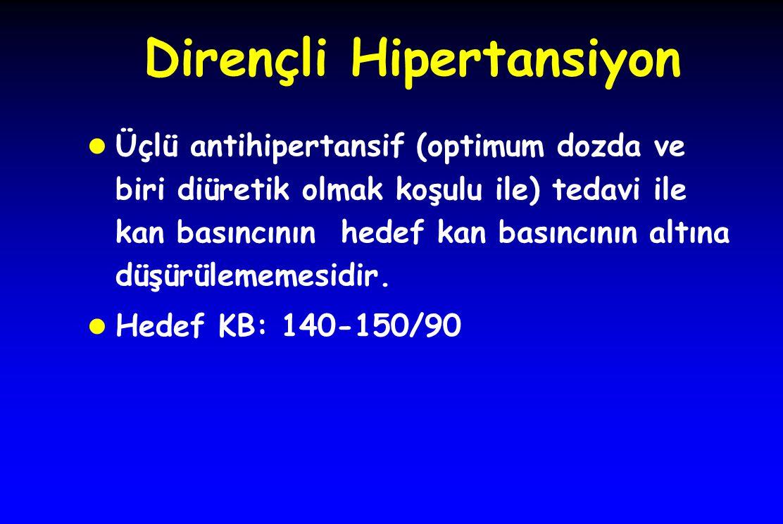 Dirençli Hipertansiyon l Üçlü antihipertansif (optimum dozda ve biri diüretik olmak koşulu ile) tedavi ile kan basıncının hedef kan basıncının altına