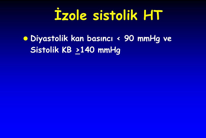 İzole sistolik HT l Diyastolik kan basıncı 140 mmHg