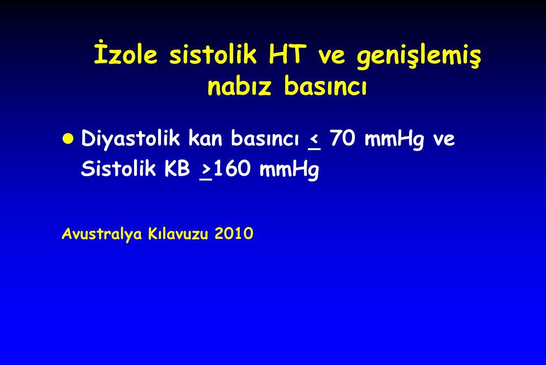 İzole sistolik HT ve genişlemiş nabız basıncı l Diyastolik kan basıncı 160 mmHg Avustralya Kılavuzu 2010
