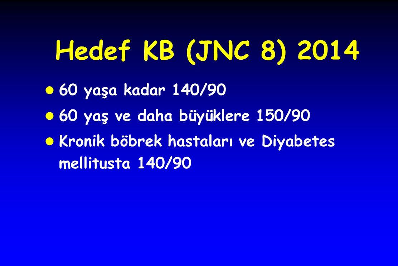 Hedef KB (JNC 8) 2014 l 60 yaşa kadar 140/90 l 60 yaş ve daha büyüklere 150/90 l Kronik böbrek hastaları ve Diyabetes mellitusta 140/90