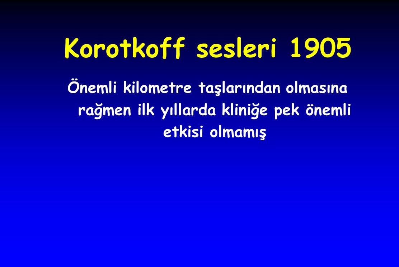Korotkoff sesleri 1905 Önemli kilometre taşlarından olmasına rağmen ilk yıllarda kliniğe pek önemli etkisi olmamış