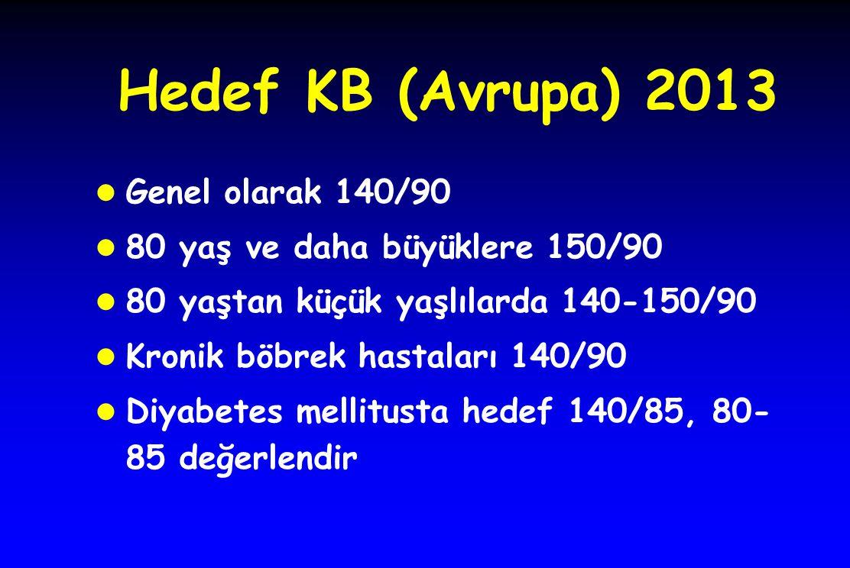 Hedef KB (Avrupa) 2013 l Genel olarak 140/90 l 80 yaş ve daha büyüklere 150/90 l 80 yaştan küçük yaşlılarda 140-150/90 l Kronik böbrek hastaları 140/9
