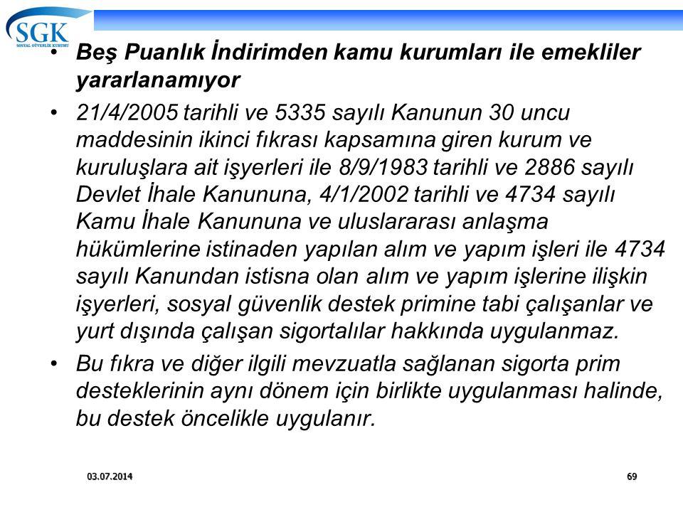 03.07.201469 •Beş Puanlık İndirimden kamu kurumları ile emekliler yararlanamıyor •21/4/2005 tarihli ve 5335 sayılı Kanunun 30 uncu maddesinin ikinci f