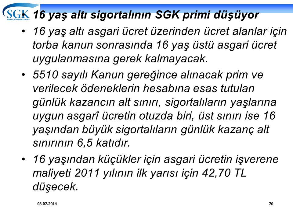 03.07.201470 •16 yaş altı sigortalının SGK primi düşüyor •16 yaş altı asgari ücret üzerinden ücret alanlar için torba kanun sonrasında 16 yaş üstü asg