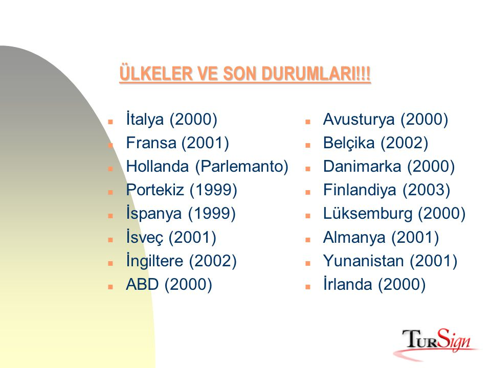 ÜLKELER VE SON DURUMLARI!!! n İtalya (2000) n Fransa (2001) n Hollanda (Parlemanto) n Portekiz (1999) n İspanya (1999) n İsveç (2001) n İngiltere (200