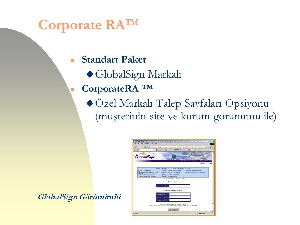 Corporate RA  n Standart Paket u GlobalSign Markalı n CorporateRA ™ u Özel Markalı Talep Sayfaları Opsiyonu (müşterinin site ve kurum görünümü ile) G