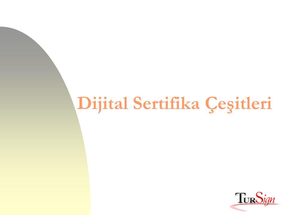 Türkiye'de Dijital Sertifika'nın Uygulama Alanları n Elektronik Ticaret n On-line İş Olanakları, Servisler n Özel Erişim Gerektiren Yerler n E-postaların Şifrelenmesi n Güvenli Dosyalama n Güvenli Veri Alışverişi