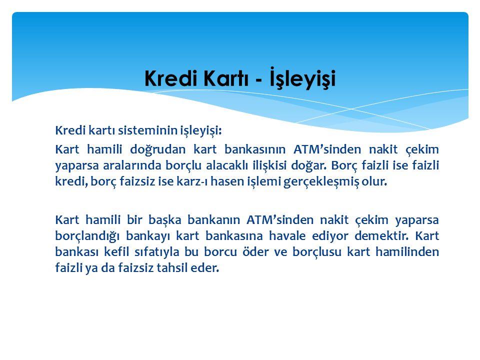 Kredi kartı sisteminin işleyişi: Kart hamili doğrudan kart bankasının ATM'sinden nakit çekim yaparsa aralarında borçlu alacaklı ilişkisi doğar. Borç f