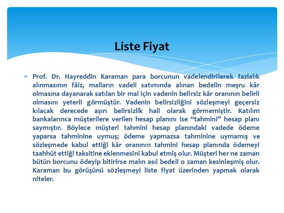  Prof. Dr. Hayreddin Karaman para borcunun vadelendirilerek fazlalık alınmasının fâiz, malların vadeli satımında alınan bedelin meşru kâr olmasına da