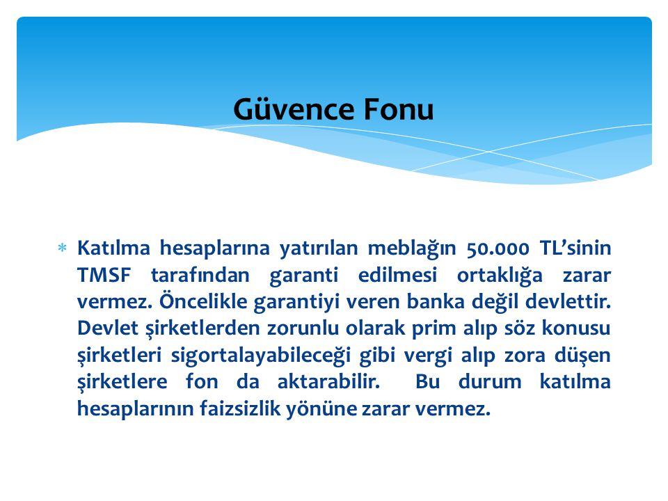  Katılma hesaplarına yatırılan meblağın 50.000 TL'sinin TMSF tarafından garanti edilmesi ortaklığa zarar vermez. Öncelikle garantiyi veren banka deği