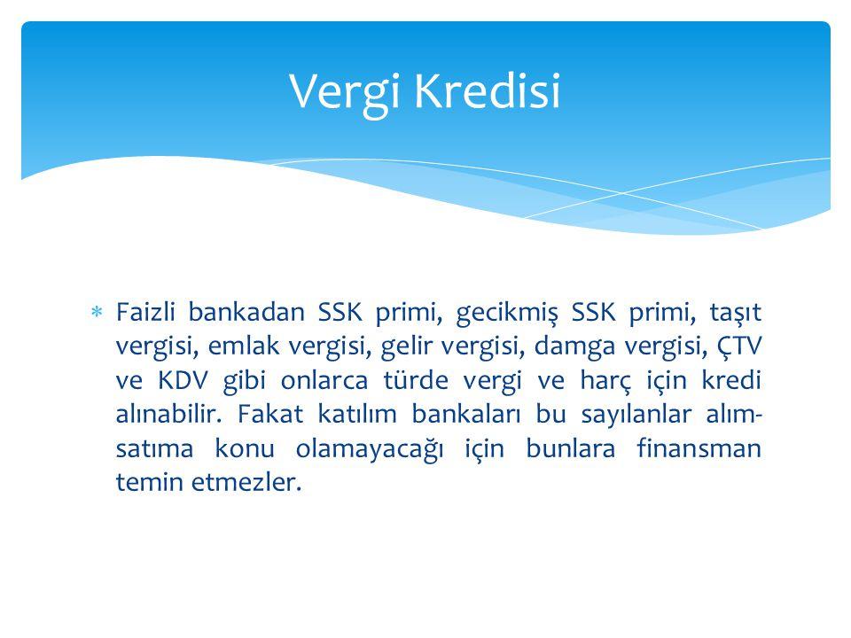  Faizli bankadan SSK primi, gecikmiş SSK primi, taşıt vergisi, emlak vergisi, gelir vergisi, damga vergisi, ÇTV ve KDV gibi onlarca türde vergi ve ha