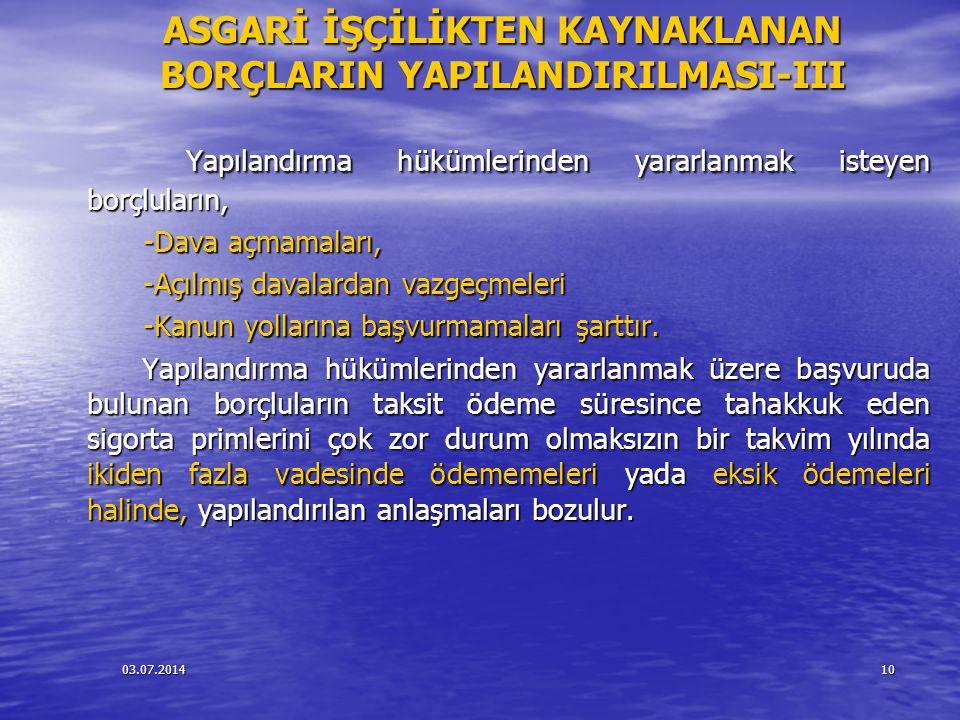 03.07.201410 ASGARİ İŞÇİLİKTEN KAYNAKLANAN BORÇLARIN YAPILANDIRILMASI-III Yapılandırma hükümlerinden yararlanmak isteyen borçluların, Yapılandırma hük