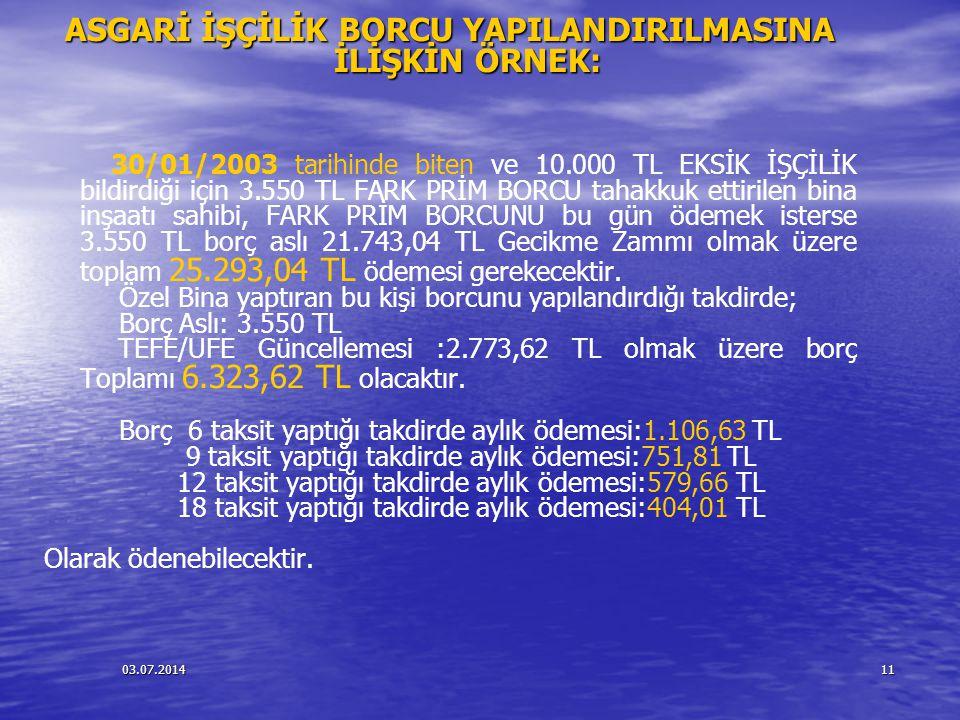 03.07.201411 ASGARİ İŞÇİLİK BORCU YAPILANDIRILMASINA İLİŞKİN ÖRNEK: 30/01/2003 tarihinde biten ve 10.000 TL EKSİK İŞÇİLİK bildirdiği için 3.550 TL FAR
