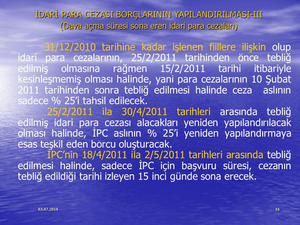 03.07.201416 İDARİ PARA CEZASI BORÇLARININ YAPILANDIRILMASI-III (Dava açma süresi sona eren idari para cezaları) 31/12/2010 tarihine kadar işlenen fii