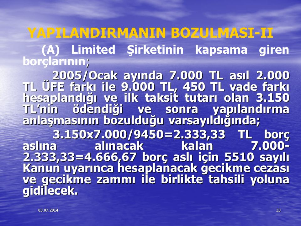 03.07.201433 YAPILANDIRMANIN BOZULMASI-II ; (A) Limited Şirketinin kapsama giren borçlarının; 2005/Ocak ayında 7.000 TL asıl 2.000 TL ÜFE farkı ile 9.