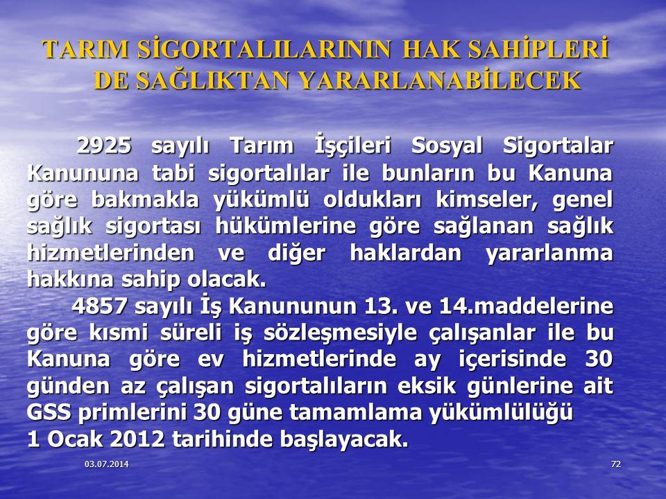 03.07.201472 TARIM SİGORTALILARININ HAK SAHİPLERİ DE SAĞLIKTAN YARARLANABİLECEK 2925 sayılı Tarım İşçileri Sosyal Sigortalar Kanununa tabi sigortalıla