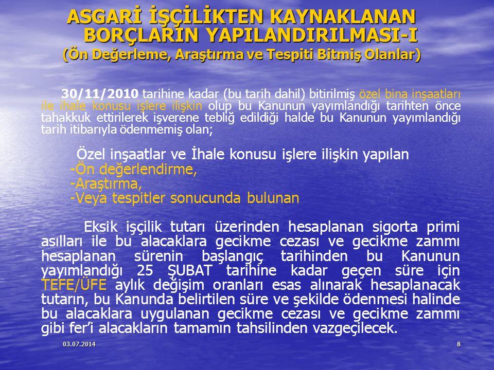 03.07.20148 ASGARİ İŞÇİLİKTEN KAYNAKLANAN BORÇLARIN YAPILANDIRILMASI-I (Ön Değerleme, Araştırma ve Tespiti Bitmiş Olanlar) 30/11/2010 tarihine kadar (