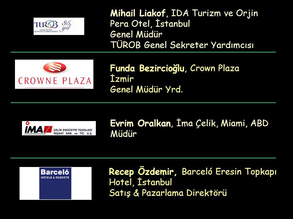 Recep Özdemir, Barceló Eresin Topkapı Hotel, İstanbul Satış & Pazarlama Direktörü Mihail Liakof, IDA Turizm ve Orjin Pera Otel, İstanbul Genel Müdür T