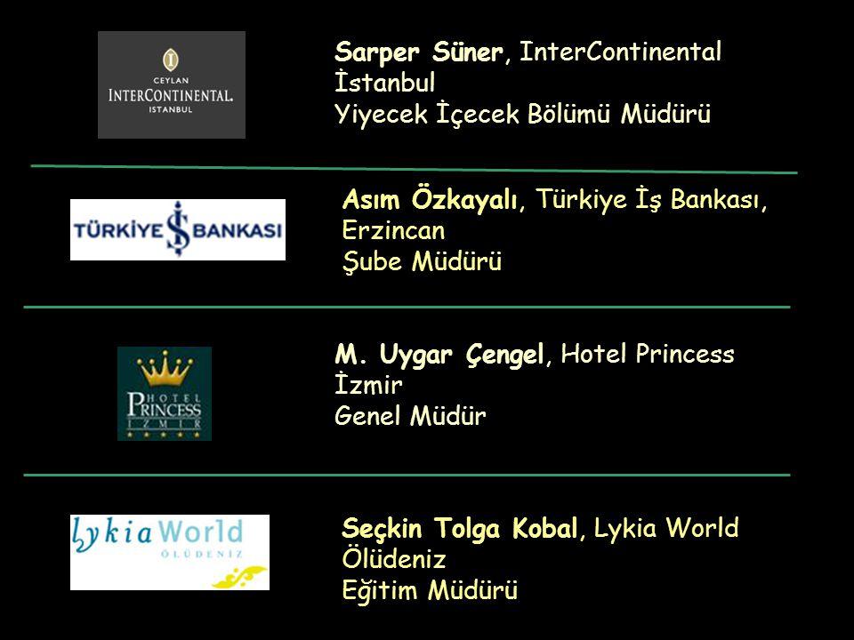 Asım Özkayalı, Türkiye İş Bankası, Erzincan Şube Müdürü Seçkin Tolga Kobal, Lykia World Ölüdeniz Eğitim Müdürü Sarper Süner, InterContinental İstanbul