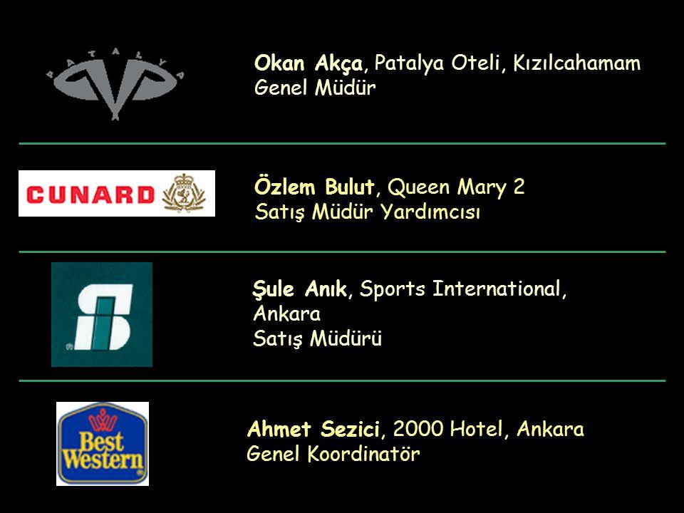 Özlem Bulut, Queen Mary 2 Satış Müdür Yardımcısı Şule Anık, Sports International, Ankara Satış Müdürü Ahmet Sezici, 2000 Hotel, Ankara Genel Koordinat