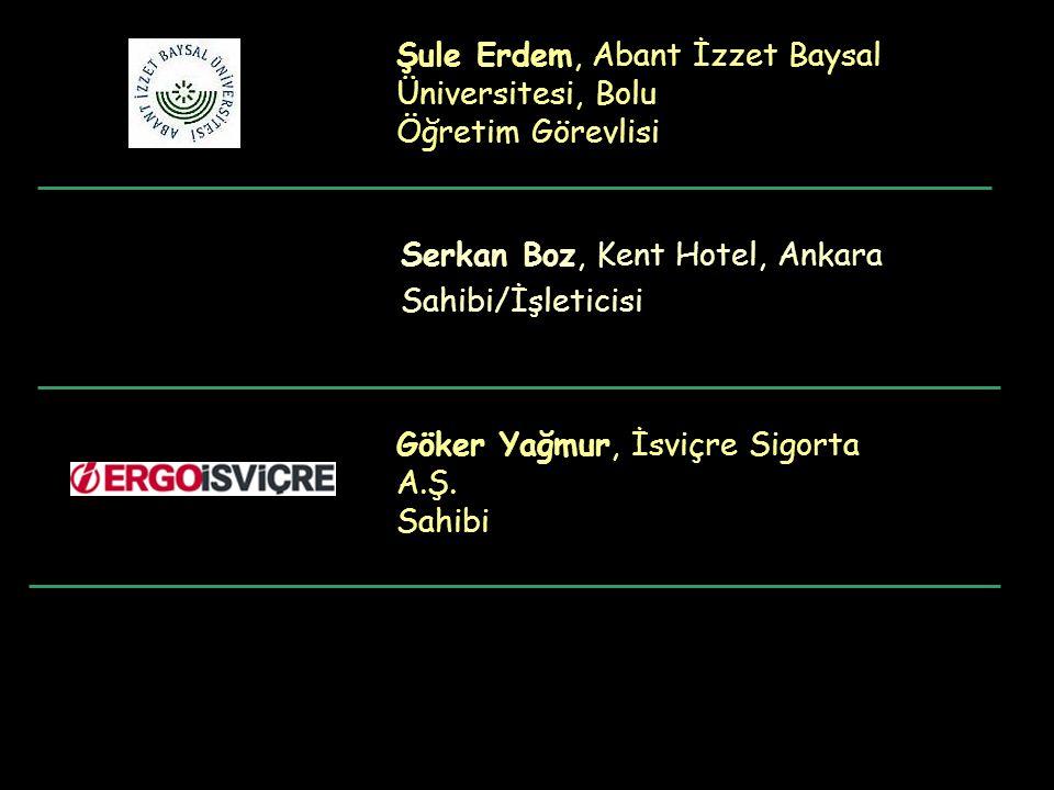 Şule Erdem, Abant İzzet Baysal Üniversitesi, Bolu Öğretim Görevlisi Serkan Boz, Kent Hotel, Ankara Sahibi/İşleticisi Göker Yağmur, İsviçre Sigorta A.Ş