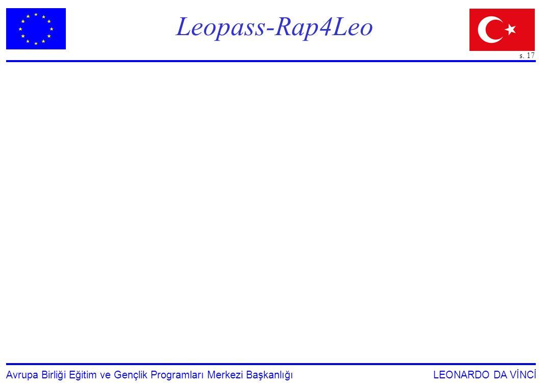 s. 17 Avrupa Birliği Eğitim ve Gençlik Programları Merkezi Başkanlığı LEONARDO DA VİNCİ Leopass-Rap4Leo