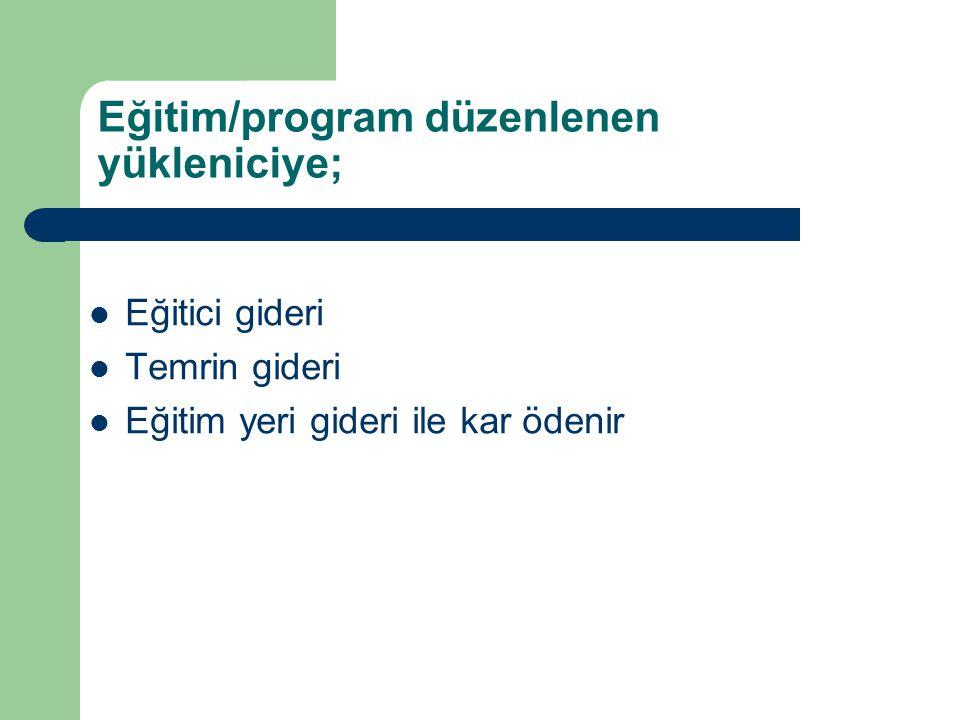 Eğitim/program düzenlenen yükleniciye;  Eğitici gideri  Temrin gideri  Eğitim yeri gideri ile kar ödenir