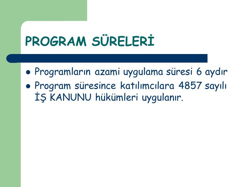 PROGRAM SÜRELERİ  Programların azami uygulama süresi 6 aydır  Program süresince katılımcılara 4857 sayılı İŞ KANUNU hükümleri uygulanır.