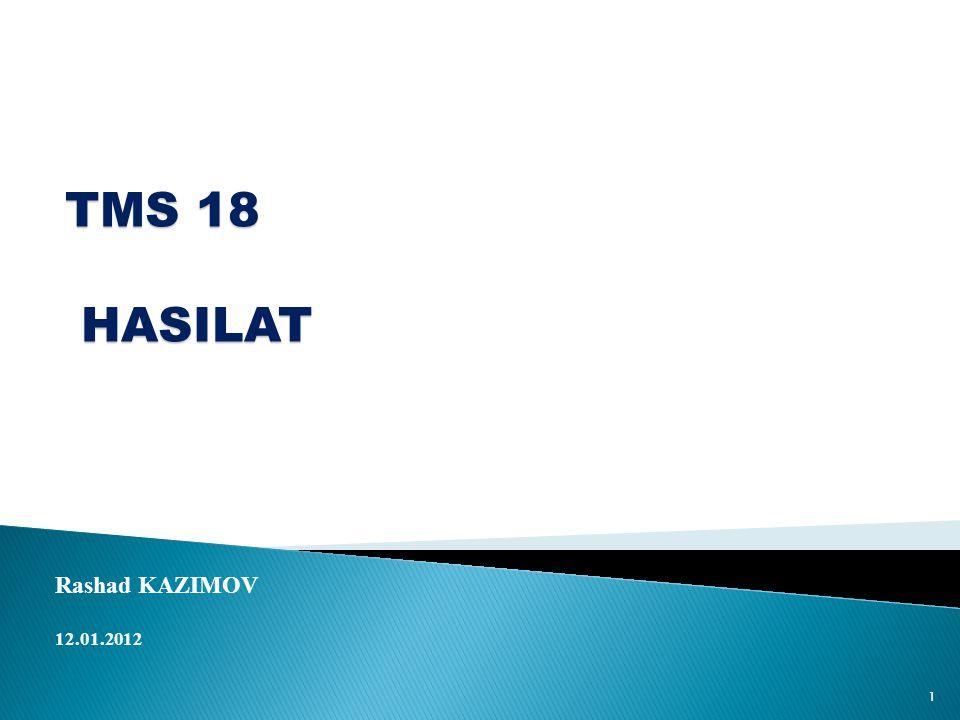 TMS 18 HASILAT HASILAT Rashad KAZIMOV 12.01.2012 1